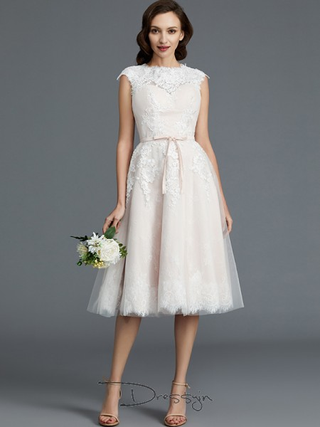 A-Line/Princess Tulle Sleeveless Bateau Knee-Length Wedding Dresses