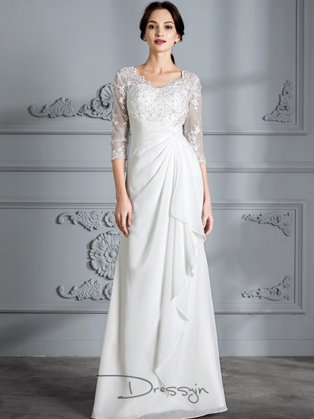 Sheath/Column Chiffon 3/4 Sleeves V-neck Long Wedding Dresses