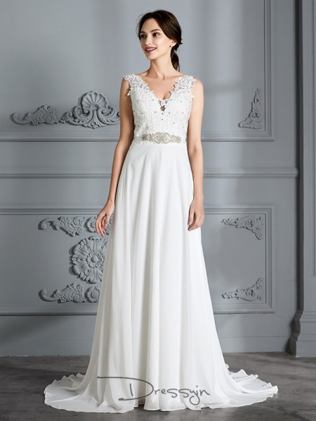 A-Line/Princess Chiffon Sleeveless V-neck Long Wedding Dresses