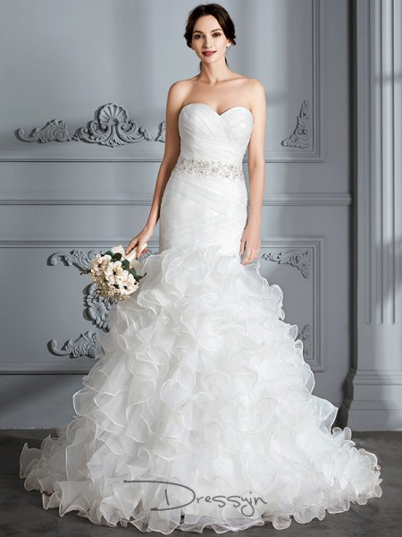 Trumpet/Mermaid Satin Sleeveless Ruffle Sweetheart Long Wedding Dresses
