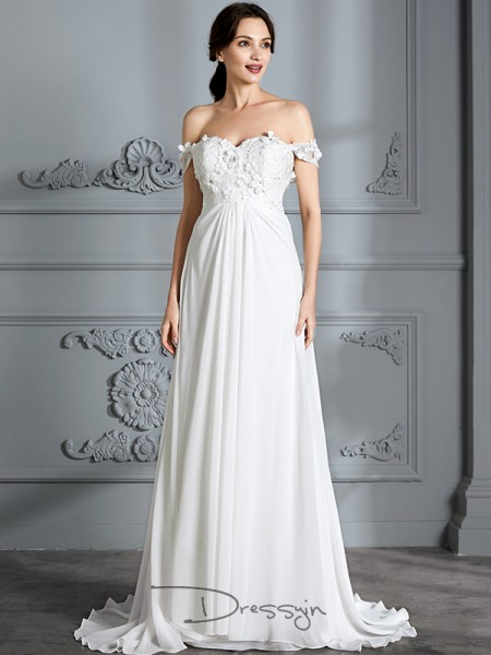 A-Line/Princess Chiffon Sleeveless Off-the-Shoulder Long Wedding Dresses