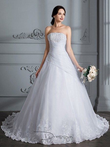 Ball Gown Organza Sleeveless Strapless Court Train Wedding Dresses