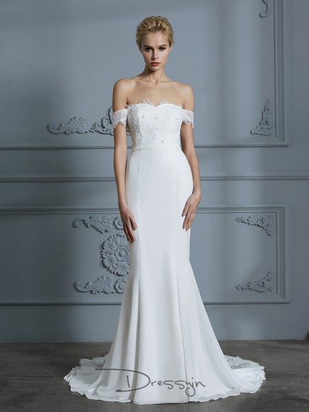 Trumpet/Mermaid Chiffon Sleeveless Lace Off-the-Shoulder Long Wedding Dresses