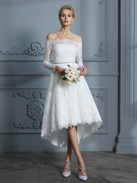 A-Line/Princess Lace Long Sleeves Lace Off-the-Shoulder High Low Wedding Dresses
