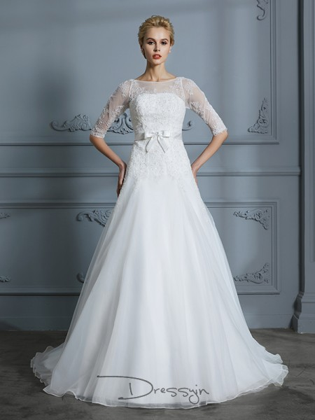 A-Line/Princess Tulle 1/2 Sleeves Lace Scoop Court Train Wedding Dresses