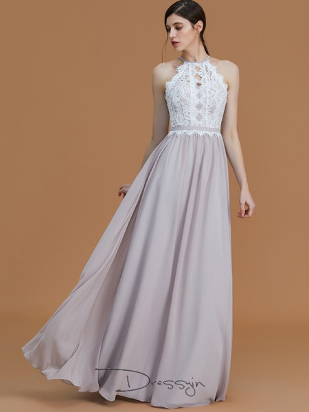 A-Line/Princess Lace Halter Sleeveless Chiffon Long Bridesmaid Dress