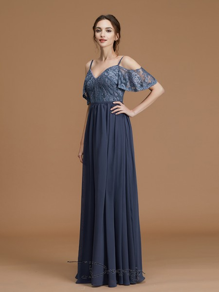 A-Line/Princess Lace Spaghetti Straps Sleeveless Chiffon Long Bridesmaid Dress