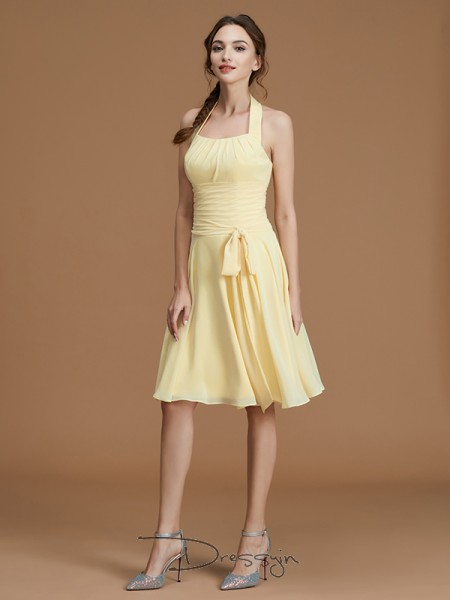 A-Line/Princess Ruffles Halter Sleeveless Chiffon Short Bridesmaid Dress