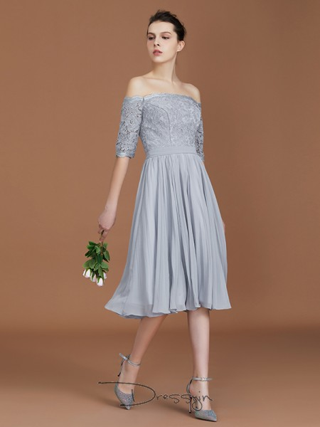 A-Line/Princess Lace Off-the-Shoulder Short Sleeves Chiffon Tea-Length Bridesmaid Dress