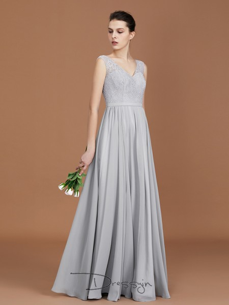 A-Line/Princess Lace V-neck Sleeveless Chiffon Long Bridesmaid Dress