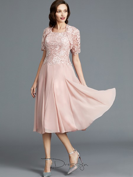 A-Line/Princess Scoop Sleeveless Chiffon Tea-Length Mother of the Bride Dress