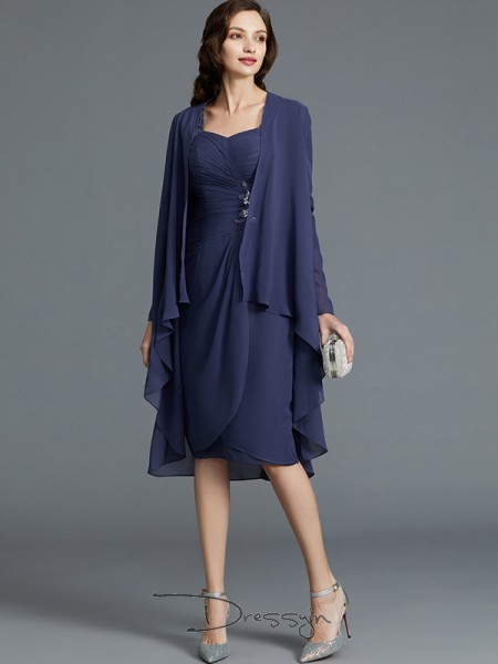 Sheath/Column Sweetheart 1/2 Sleeves Chiffon Knee-Length Mother of the Bride Dress