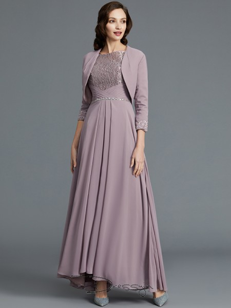 A-Line/Princess Scoop 1/2 Sleeves Chiffon High Low Mother of the Bride Dress