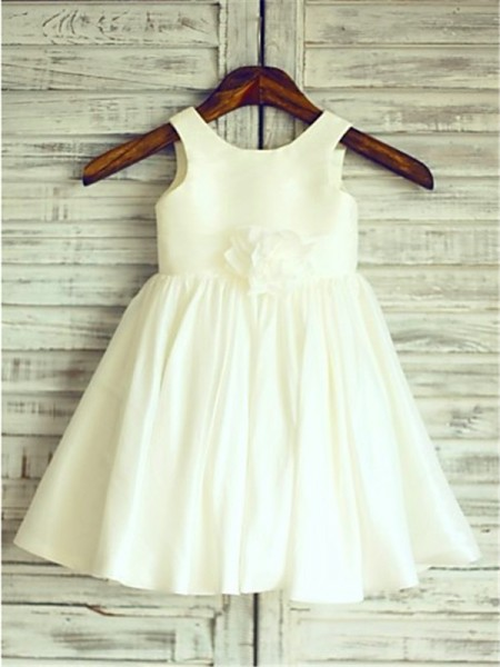 A-Line/Princess Scoop Sleeveless Hand-Made Flower Chiffon Tea-Length Flower Girl Dress