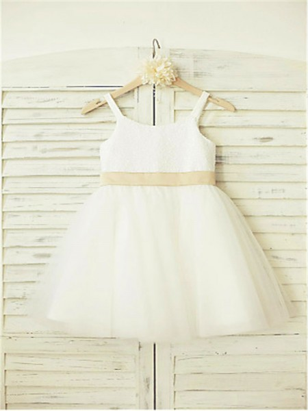 A-Line/Princess Knee-Length Bowknot Spaghetti Straps Sleeveless Tulle Flower Girl Dress