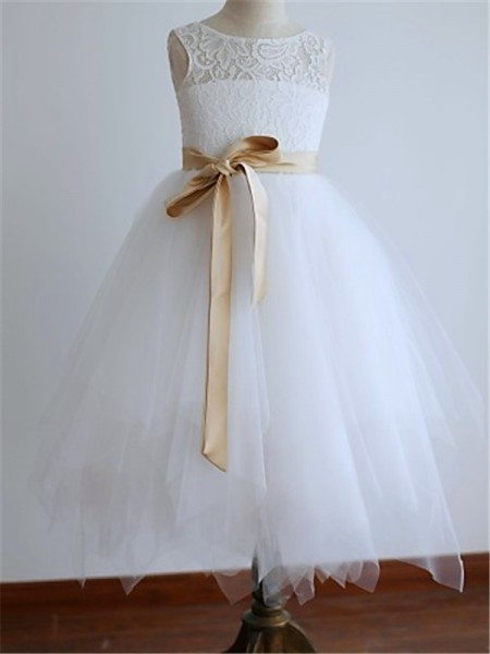 A-Line/Princess Scoop Sleeveless Sash/Ribbon/Belt Tulle Tea-Length Flower Girl Dress