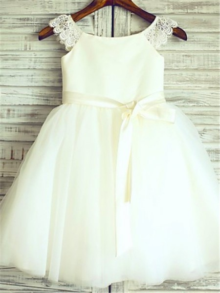 A-Line/Princess Scoop Sleeveless Sash/Ribbon/Belt Tulle Knee-Length Flower Girl Dress