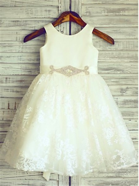 A-Line/Princess Scoop Sleeveless Sash/Ribbon/Belt Lace Knee-Length Flower Girl Dress