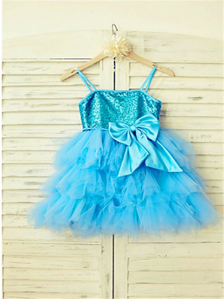 A-Line/Princess Tea-Length Sequin Spaghetti Straps Sleeveless Net Flower Girl Dress