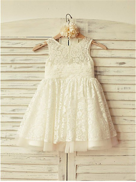 A-Line/Princess Tea-Length Ruffles Scoop Sleeveless Lace Flower Girl Dress