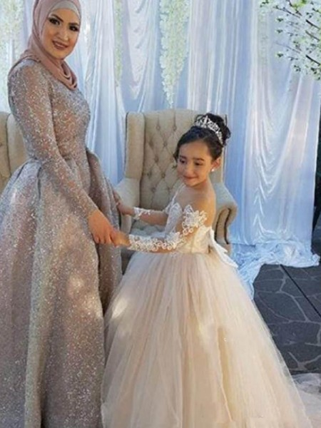 Ball Gown Off-the-Shoulder Applique Long Sleeves Tulle Long Flower Girl Dress
