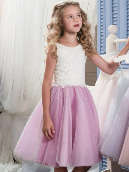 A-Line/Princess Scoop Lace Sleeveless Tulle Knee-Length Flower Girl Dress