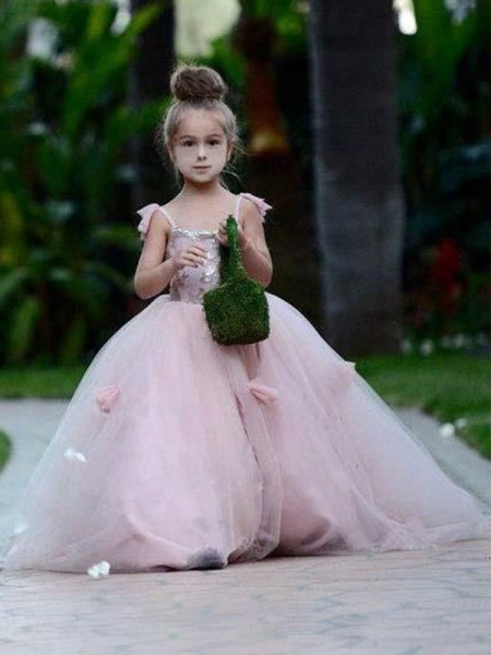 Ball Gown Spaghetti Straps Applique Sleeveless Tulle Long Flower Girl Dress