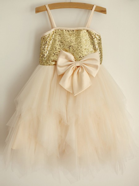 A-Line/Princess Spaghetti Straps Knee-Length Sequin Sleeveless Tulle Flower Girl Dresses
