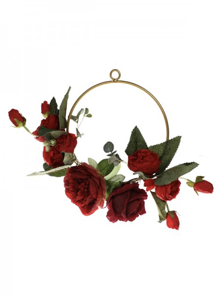 Delicate Round Plastic Red Rose Bridal Bouquets