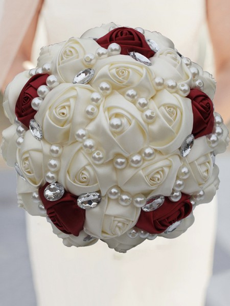 Gorgeous Round Satin Bridal Bouquets Wedding Supplies