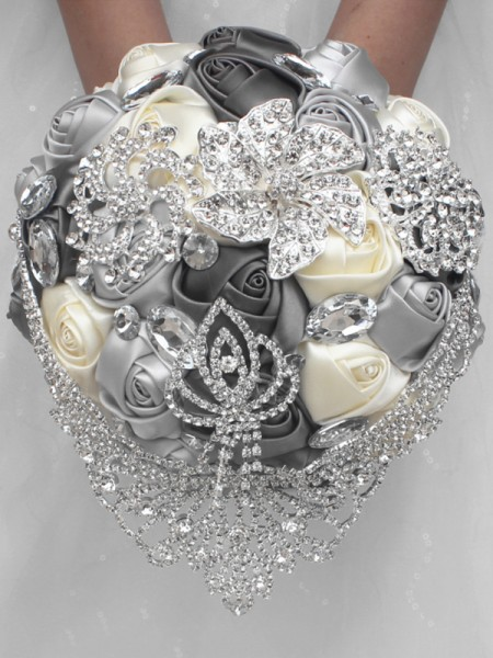 Luxurious Round Satin Bridal Bouquets Wedding Supplies