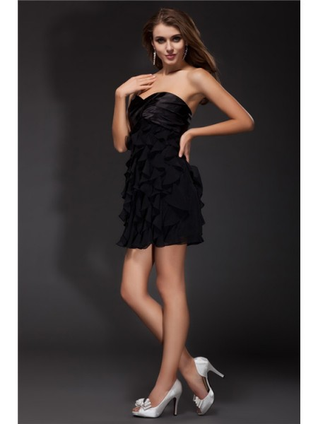 Sheath/Column Sweetheart Ruffles Sleeveless Chiffon Elastic Woven Satin Short Dresses