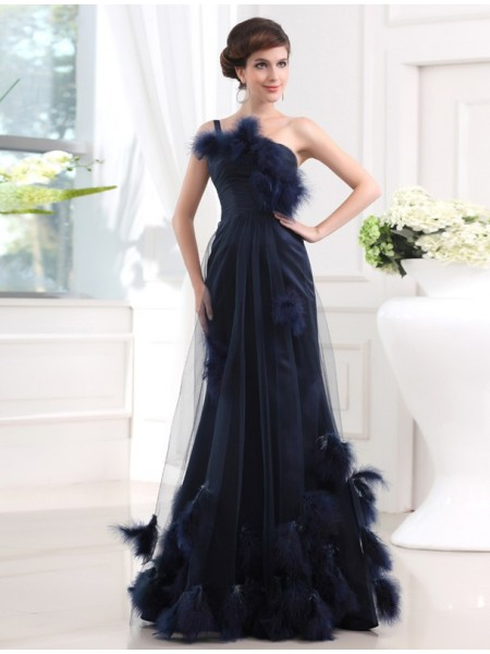 Trumpet/Mermaid One-Shoulder Feathers/Fur Sleeveless Satin Tulle Long Dresses