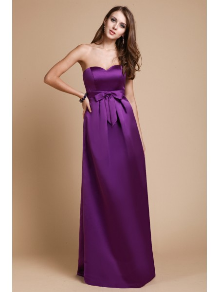 Sheath/Column Sweetheart Bowknot Sleeveless Elastic Woven Satin Long Bridesmaid Dresses