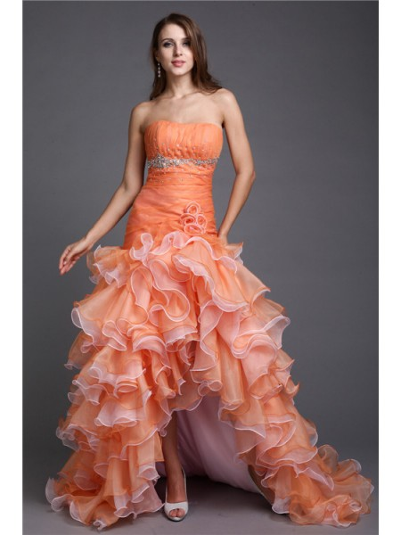 Ball Gown Strapless Beading Sleeveless Organza High Low Dresses