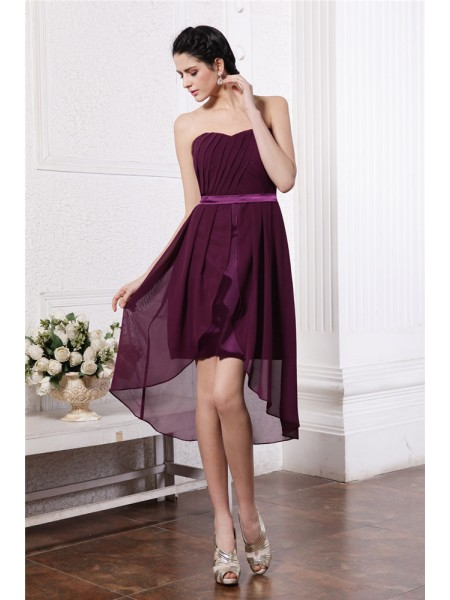 Sheath/Column Strapless Pleats Sash/Ribbon/Belt Sleeveless Chiffon High Low Dresses
