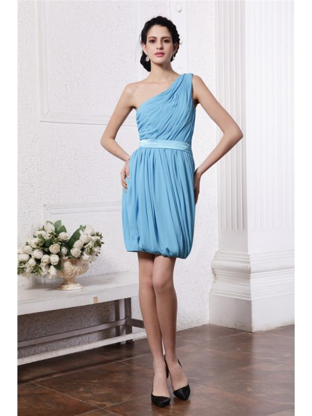Sheath/Column One-Shoulder Pleats Sleeveless Chiffon Short Dresses