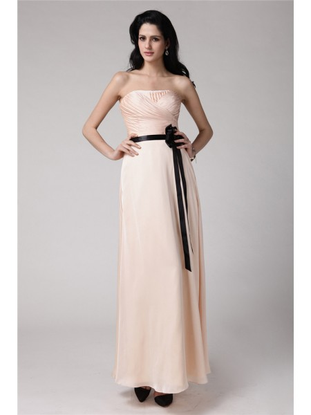 Sheath/Column Strapless Sash/Ribbon/Belt Sleeveless Chiffon Elastic Woven Satin Ankle-Length Bridesmaid Dresses