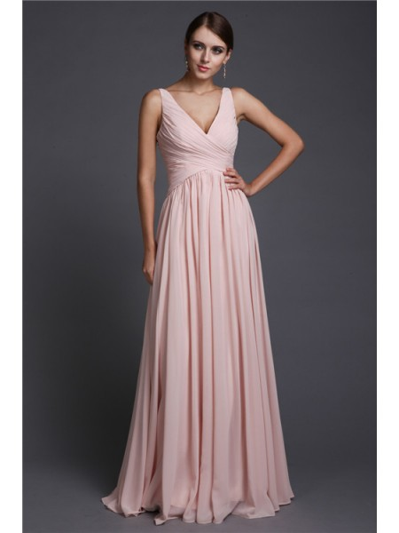 A-Line/Princess V-neck Ruffles Sleeveless Chiffon Long Bridesmaid Dresses