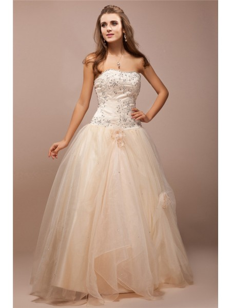 Ball Gown Strapless Beading Lace Sleeveless Net Satin Long Dresses