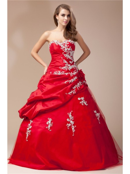 Ball Gown Sweetheart Beading Lace Sleeveless Taffeta Net Long Dresses