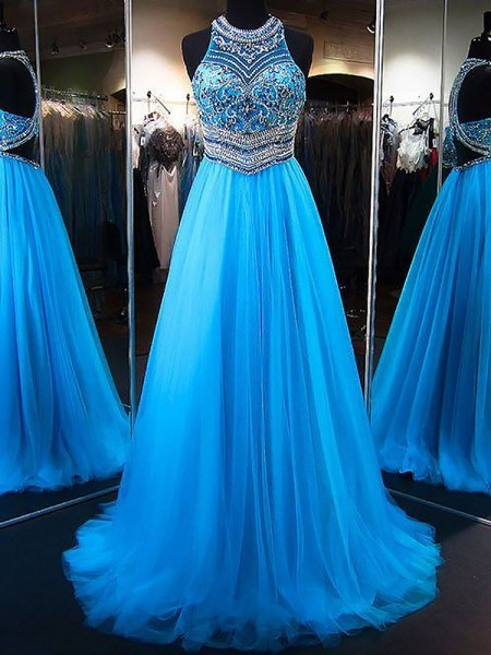 A-Line/Princess Jewel Beading Sleeveless Tulle Long Dresses