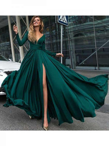 A-Line/Princess V-Neck Ruffles Long Sleeves Satin Chiffon Long Dresses