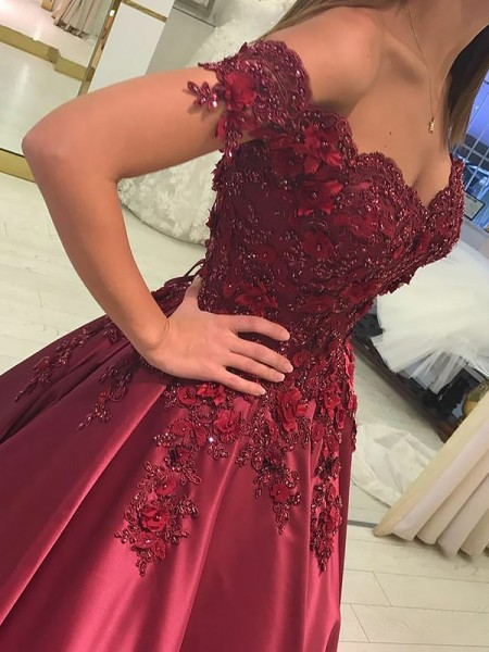 Ball Gown Off-the-Shoulder Applique Sleeveless Satin Long Dresses