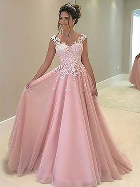 A-Line/Princess Sweetheart Applique Sleeveless Tulle Long Dresses