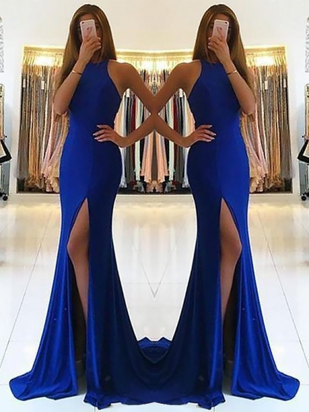 Sheath/Column Halter Ruffles Sleeveless Elastic Woven Satin Long Dresses