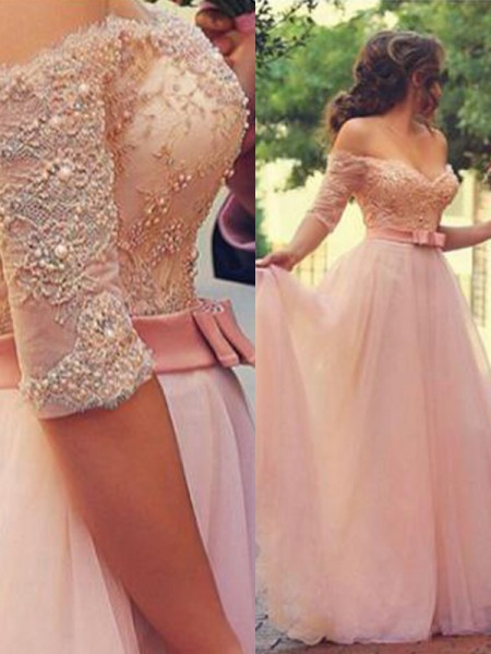 A-Line/Princess Off-the-Shoulder Lace 1/2 Sleeves Tulle Long Dresses
