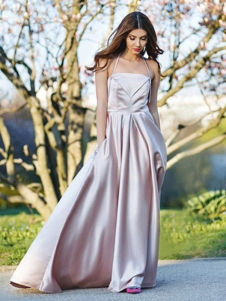 A-Line/Princess Halter Ruffles Sleeveless Satin Long Dresses