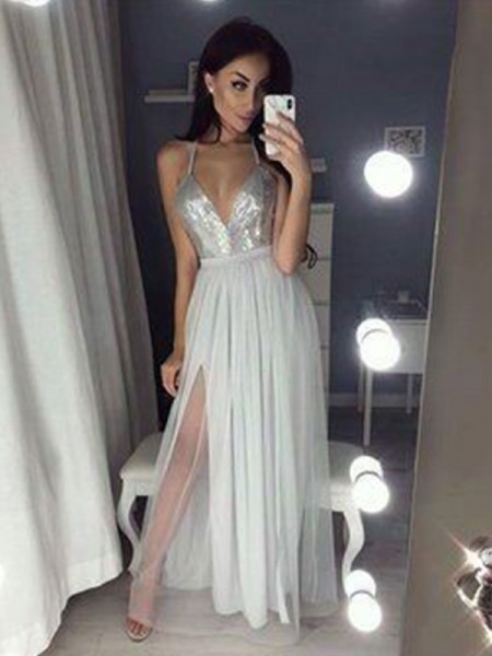 A-Line/Princess V-neck Beading Sleeveless Chiffon Long Dresses