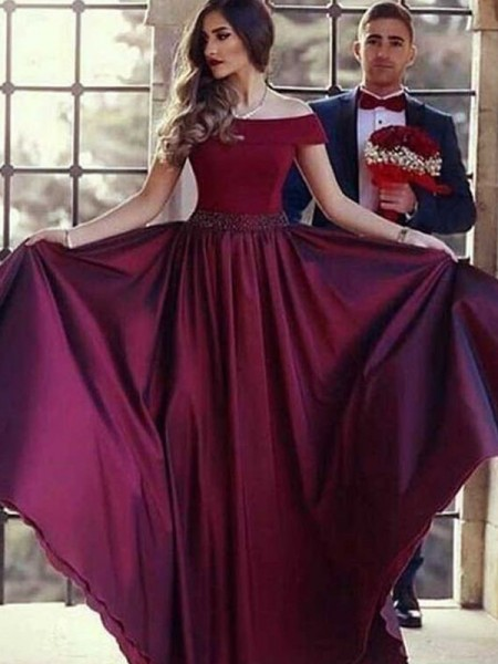 A-Line/Princess Off-the-Shoulder Ruffles Sleeveless Satin Long Dresses